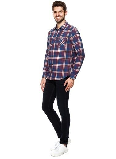 T-Box Ekoseli Uzun Kollu Gömlek İndigo